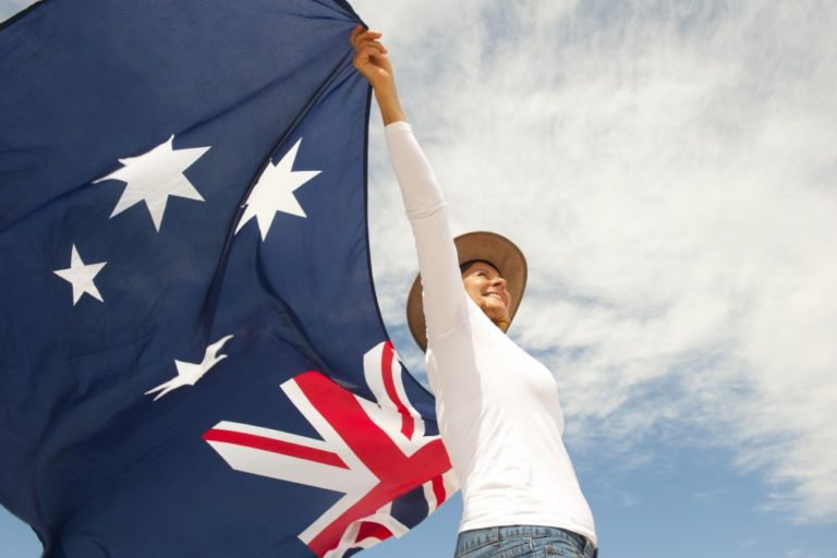 woman holding the flag of australia