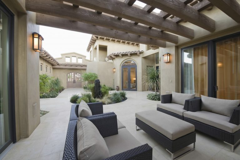 outdoor patio at a huge house