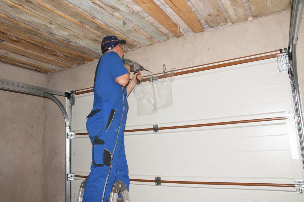man renovating garage