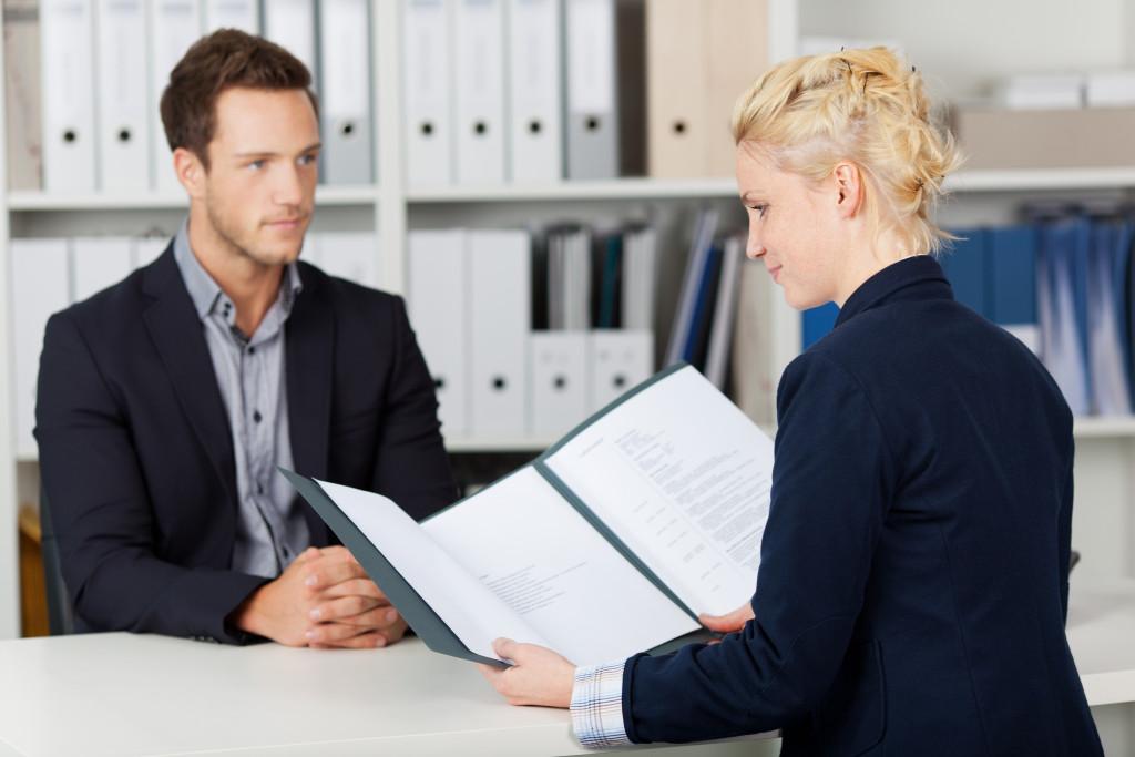 man at a job interview